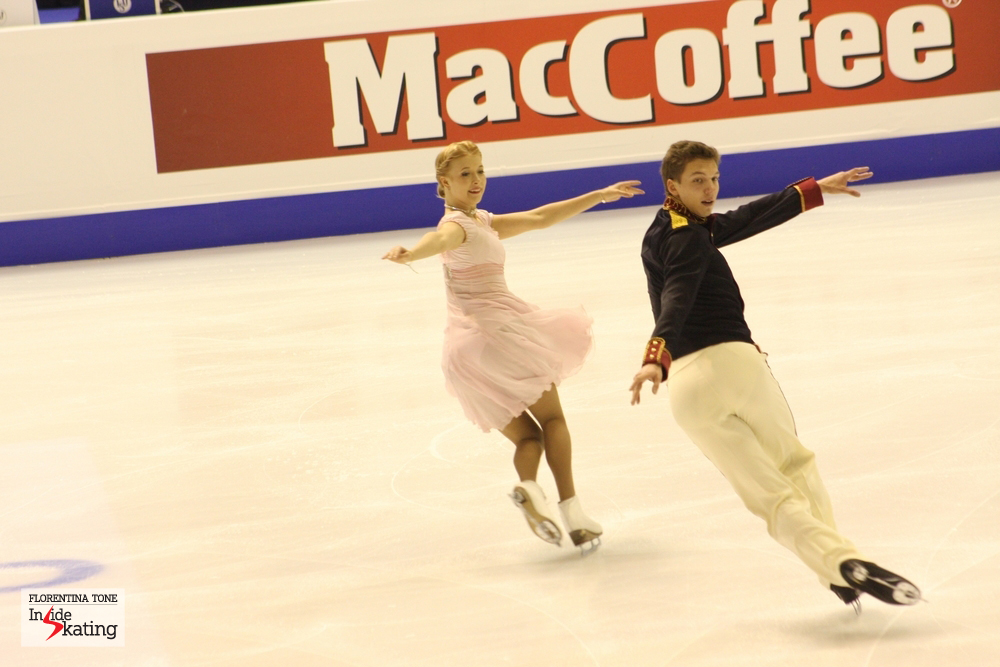 Ekaterina Bobrova and Dmitri Soloviev at the 2013 European Figure Skating Championships (they've won the gold)