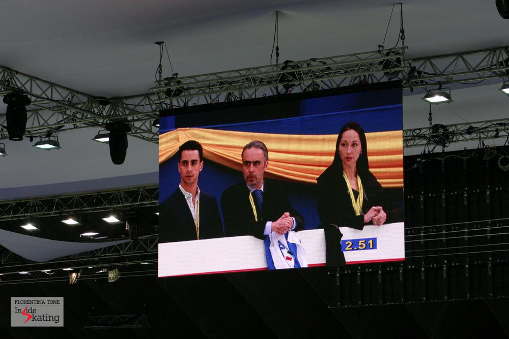 Team Scali-Camerlengo-Krylova in Nice, at the 2012 World Figure Skating Championships