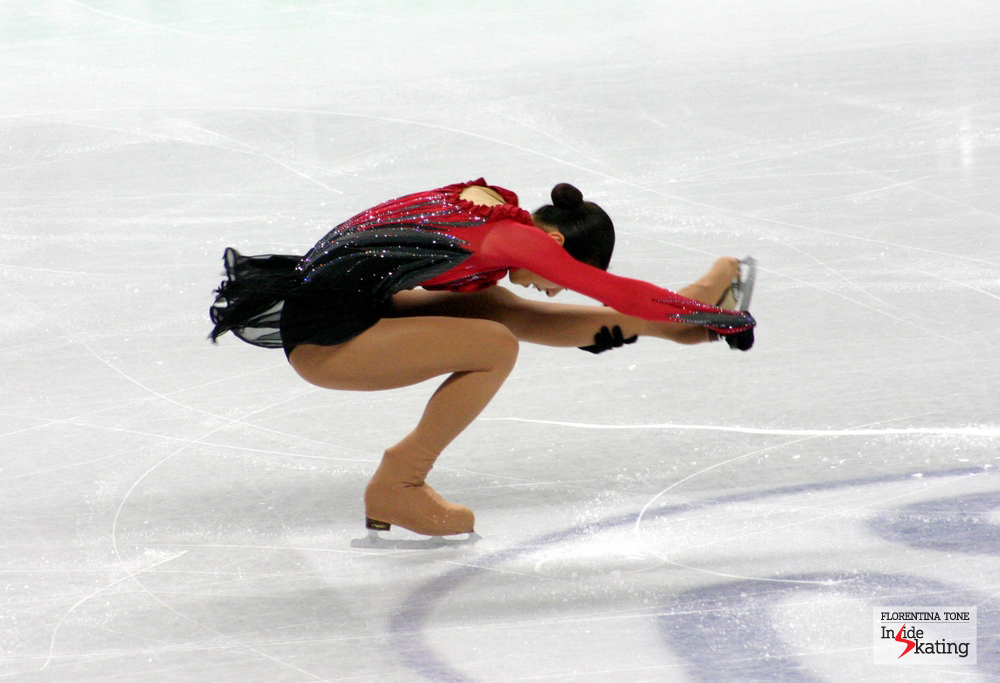 Mao Asada, at the 2010 World Figure Skating Championships. In Torino, Mao won the gold