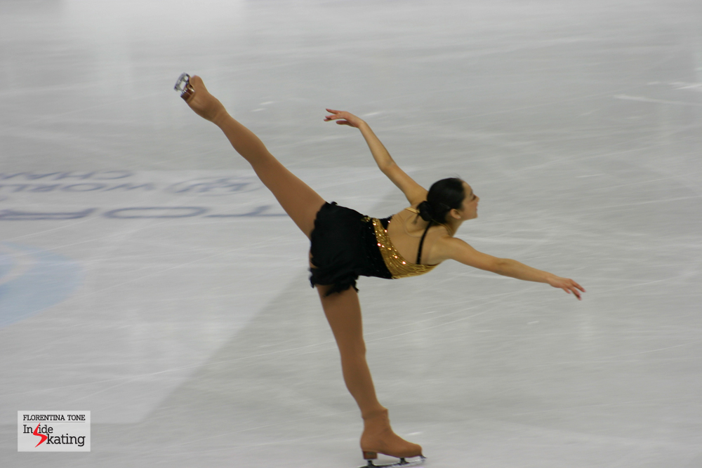 Mirai Nagasu in Torino, at the 2010 World Figure Skating Championships. She was leading after the short program