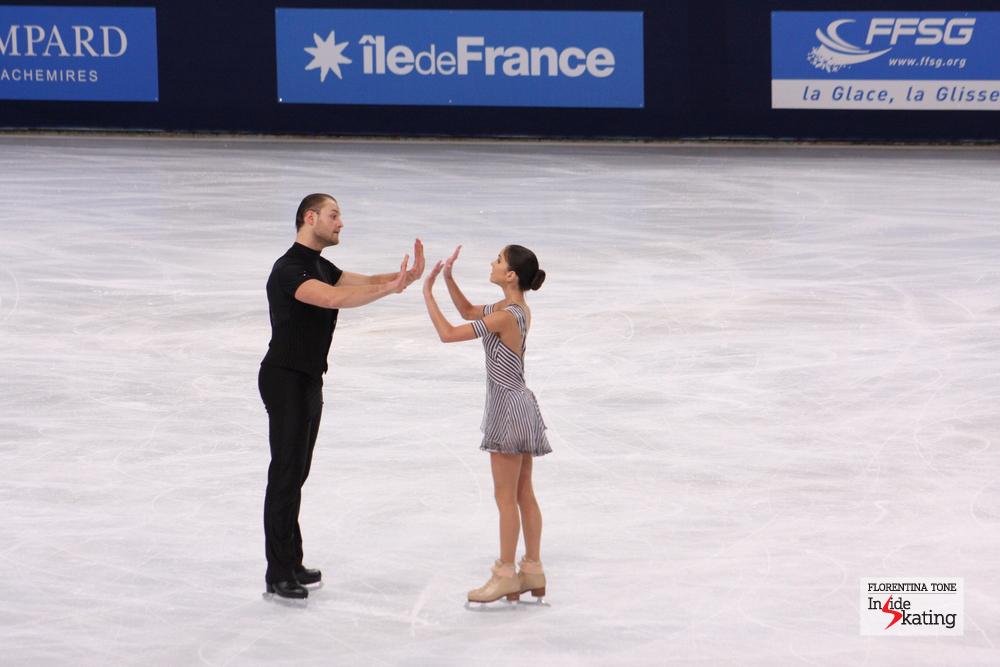Vera Bazarova and Yuri Larionov during their short program at the 2013 Trophee Eric Bompard in Paris