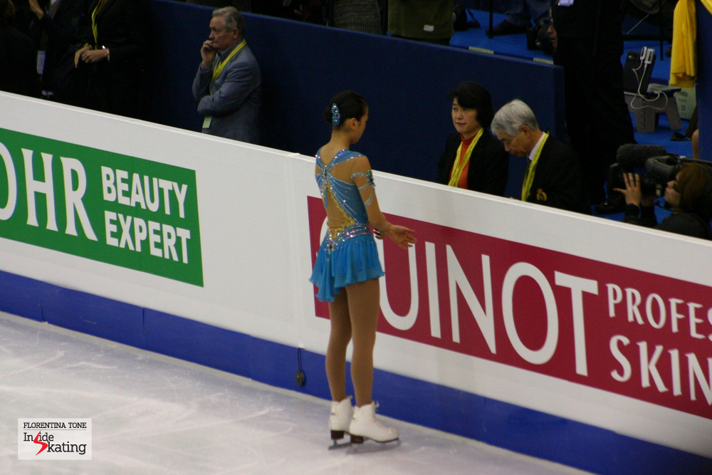 Mao Asada, preparing for her short program (Scheherazade) at 2012 Worlds in Nice