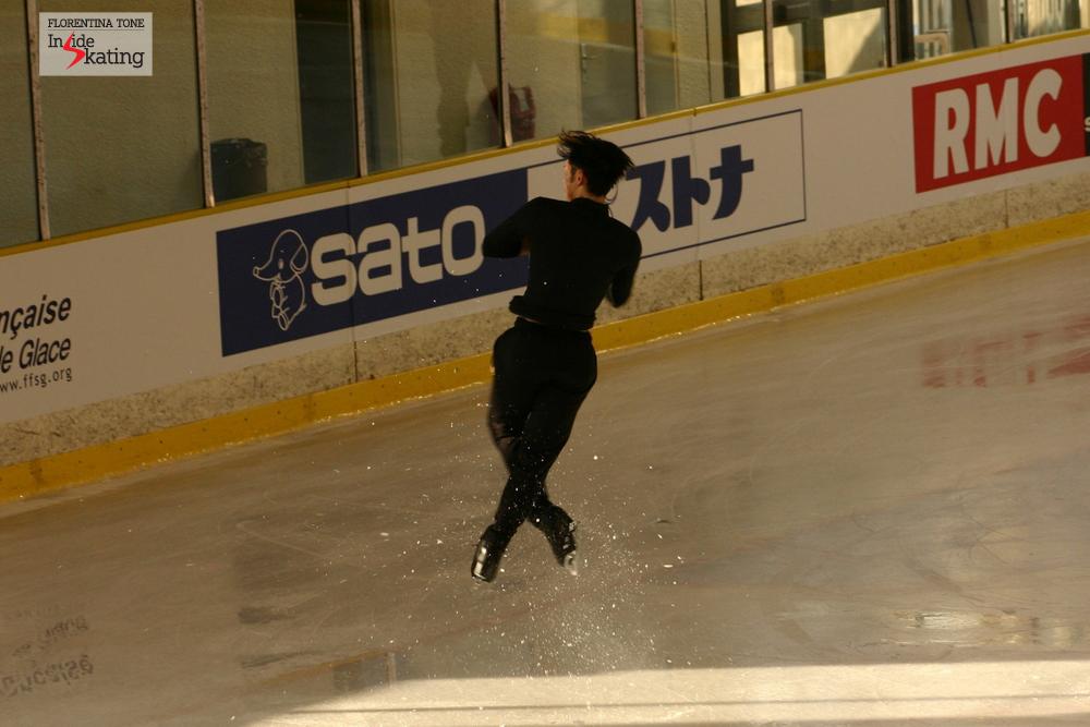 Daisuke Takahashi practicing jumps at the 2012 World Figure Skating Championships in Nice, France