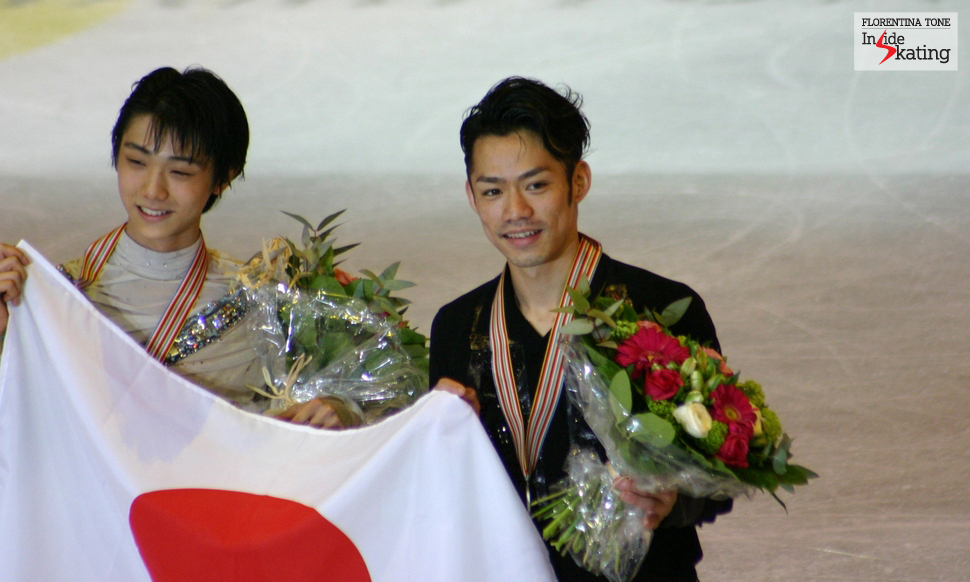 Yuzuru Hanyu and Daisuke Takahashi at the 2012 Worlds in Nice (Daisuke won the silver, while young Yuzuru got the bronze)
