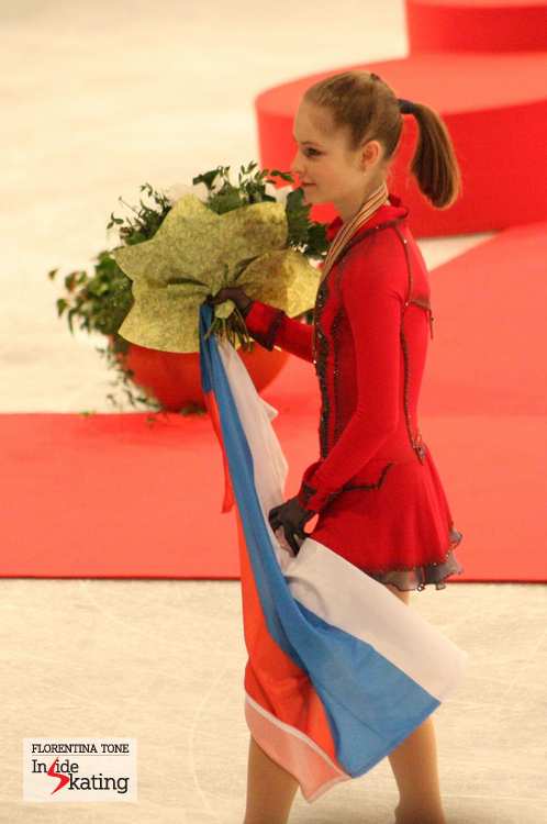 The girl with the Russian flag: Julia Lipnitskaia