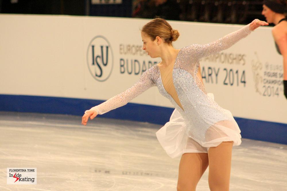 Carolina Kostner practicing her short program in Budapest