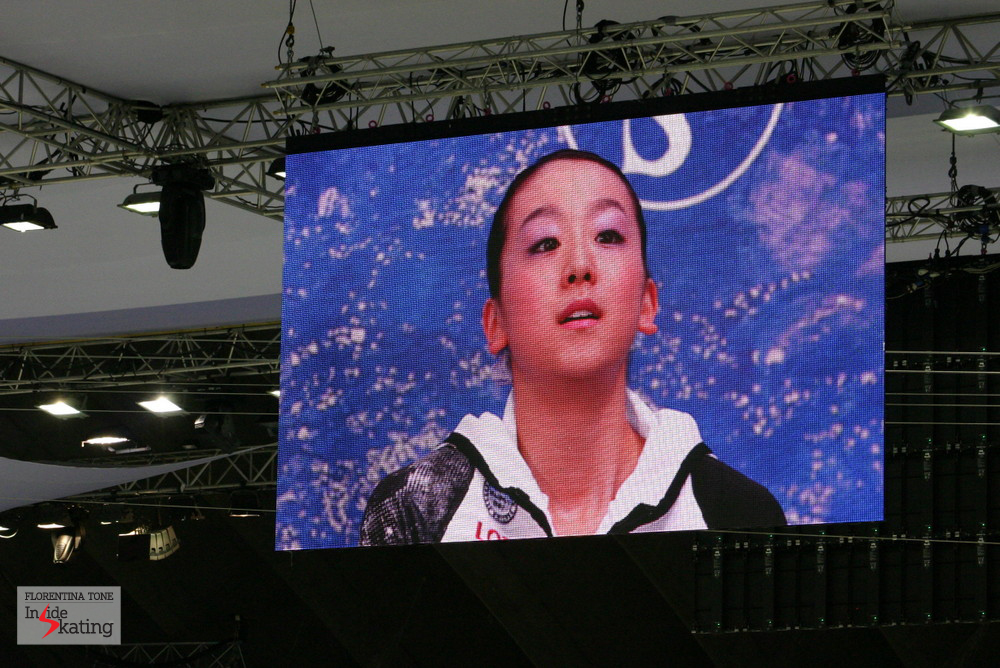 Mao Asada, at the 2012 Worlds in Nice, while waiting for her scores