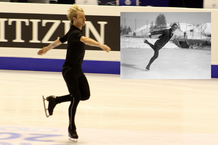 Evgeni Plushenko at 2013 Europeans in Zagreb (Photo: Florentina Tone/Inside Skating). Right: Gillis Grafström in 1931 (Photo: German Federal Archives)