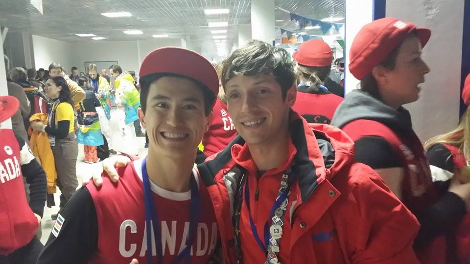 Patrick Chan and Zoltan Kelemen, before the closing ceremony in Sochi ((Photo: personal archive of Zoltan Kelemen)