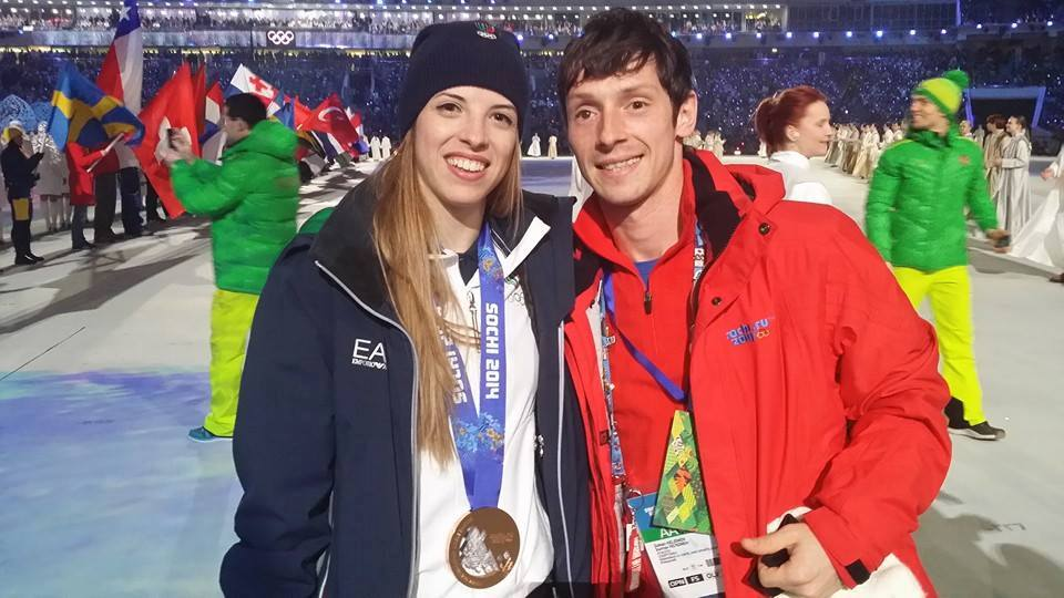 With Carolina Kostner, bronze medalist at the 2014 Olympics in Sochi, during the closing ceremony (Photo: personal archive of Zoltan Kelemen)