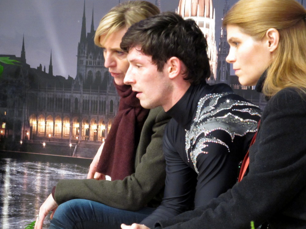 Zoltan, waiting for his scores, alongside Linda van Troyen and Sandra Schär Chiper (Photo courtesy of Andriana Andreeva)