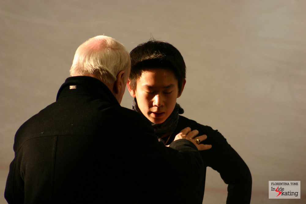 Frank Carroll and Denis Ten at the 2012 Worlds in Nice