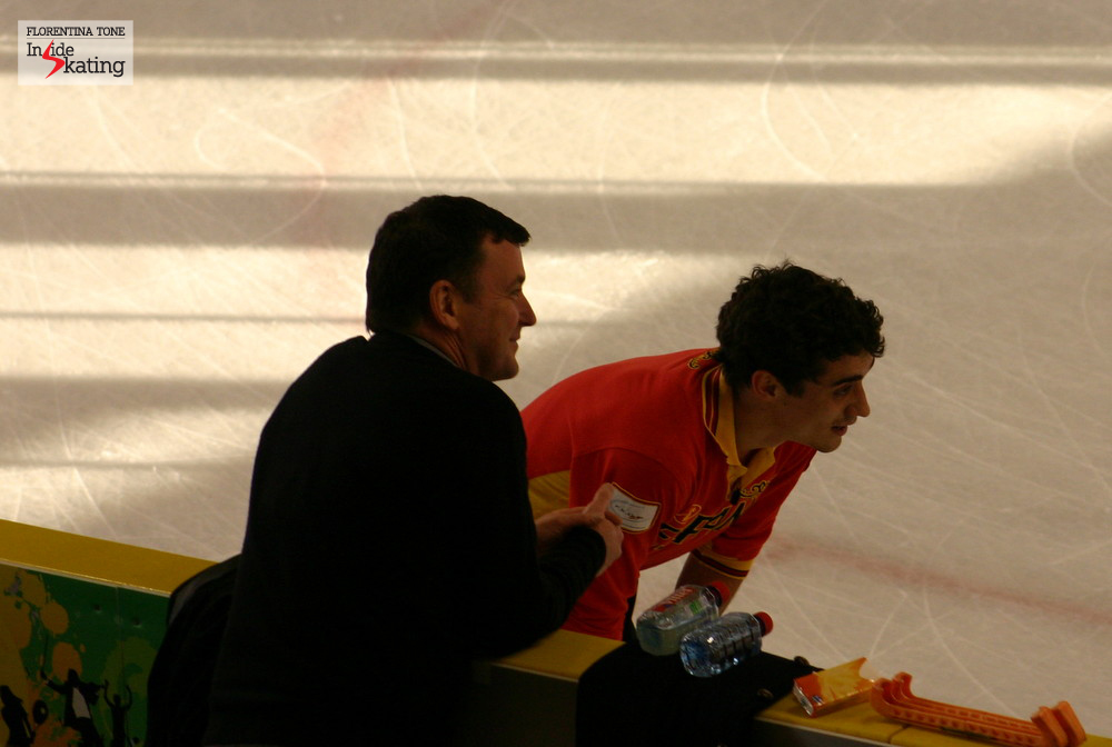 Brian Orser with Javier Fernandez in Nice, at the 2012 Worlds; soon after that, Yuzuru Hanyu asked Brian to coach him