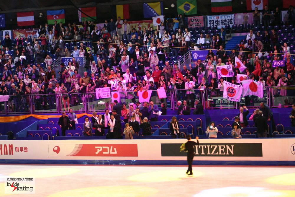 Daisuke Takahashi and his fans, in Nice, at the 2012 Worlds, when he won the silver medal