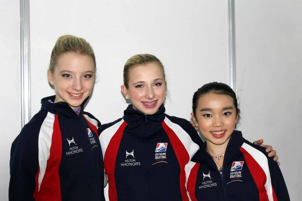 The American girls in Sofia, Bulgaria: Amber Glenn, Tyler Pierce and Karen Chen (Photo: Andriana Andreeva)