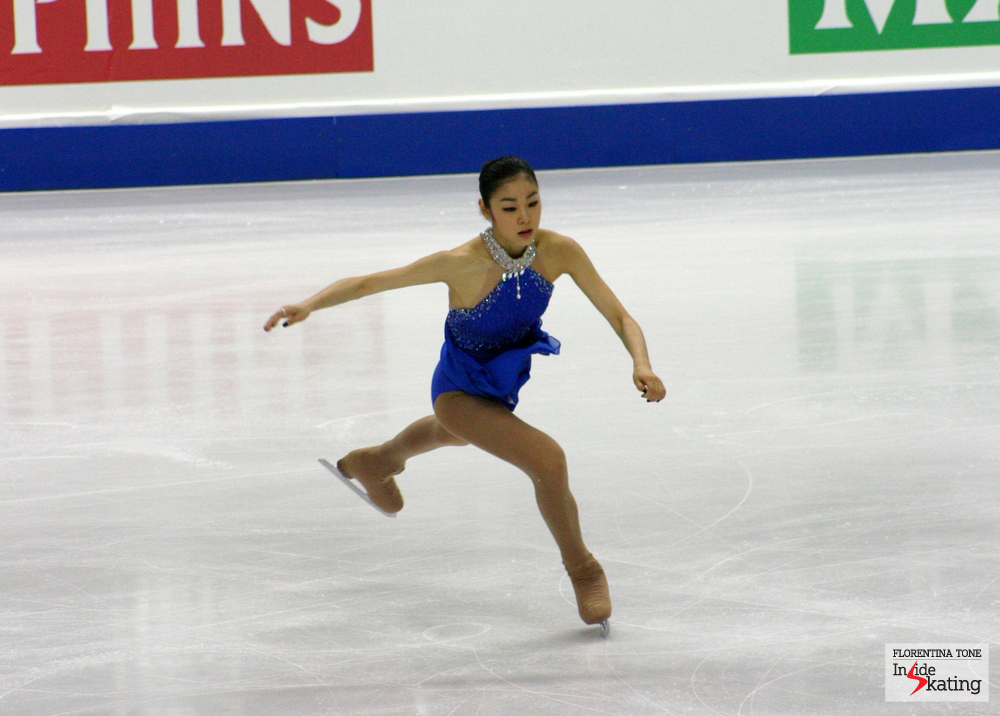 Yuna Kim, at the 2010 Worlds in Torino, a month after she had won the Olympic gold in Vancouver. Four years later, in Sochi, Yuna was awarded silver, behind Adelina Sotnikova