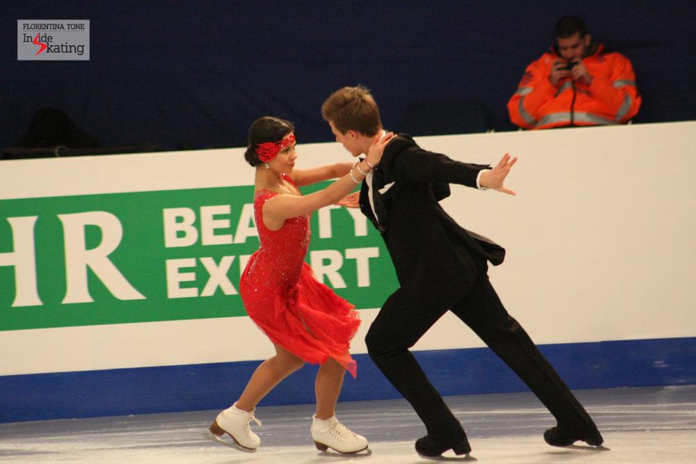Elena Ilinykh and Nikita Katsalapov at the 2014 Europeans in Budapest