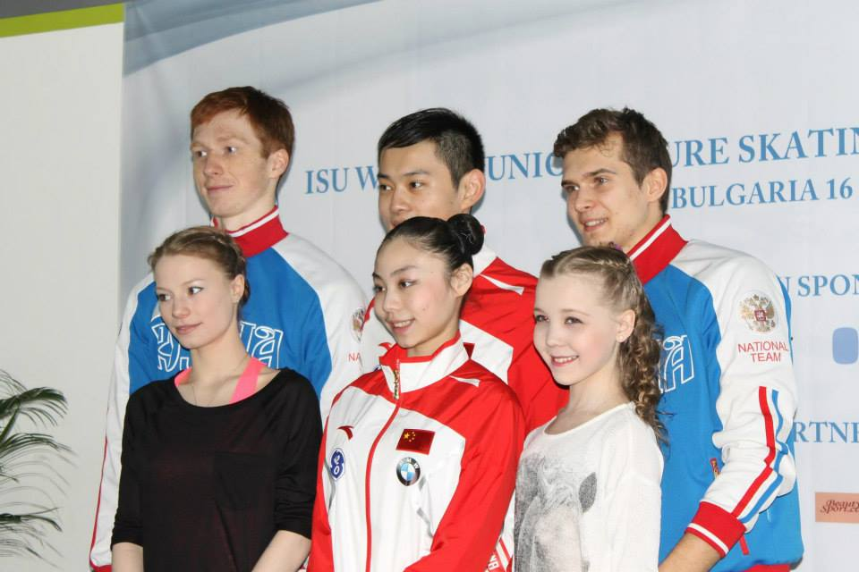 The pairs medalists in Sofia: Xiaoyu Yu / Yang Jin (gold), Evgenia Tarasova / Vladimir Morozov (silver) and Maria Vigalova / Egor Zakroev (bronze) (Photo: Andriana Andreeva)