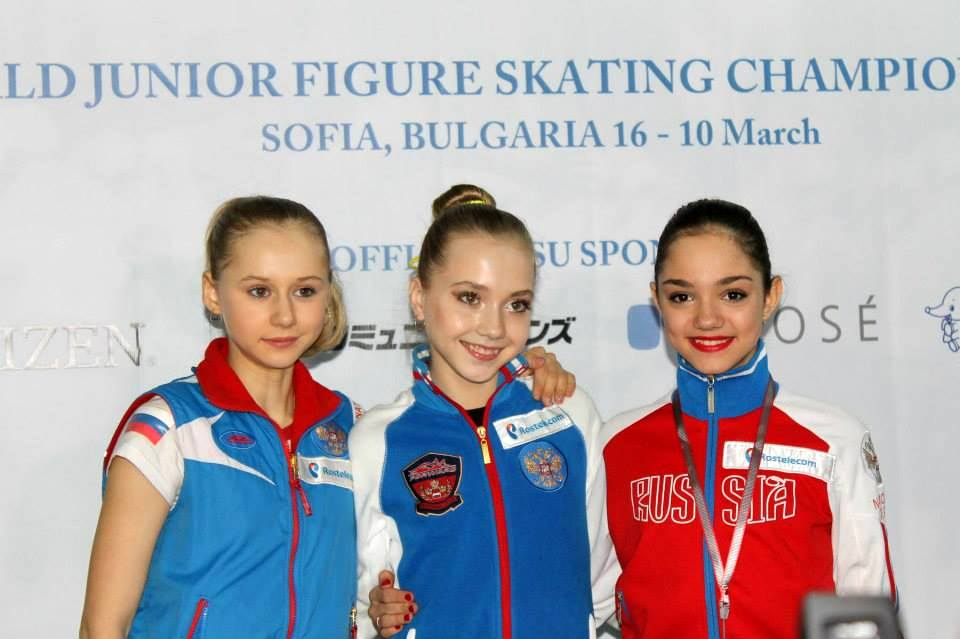 Serafima Sakhanokich, Elena Radionova and Evgenia Medvedeva in Sofia, after the short program (Photo: Andriana Andreeva)