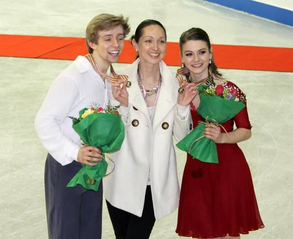 A happy Mrs. Krylova and her golden students, Kaitlin and Jean-Luc, in Sofia (Photo: Andriana Andreeva)