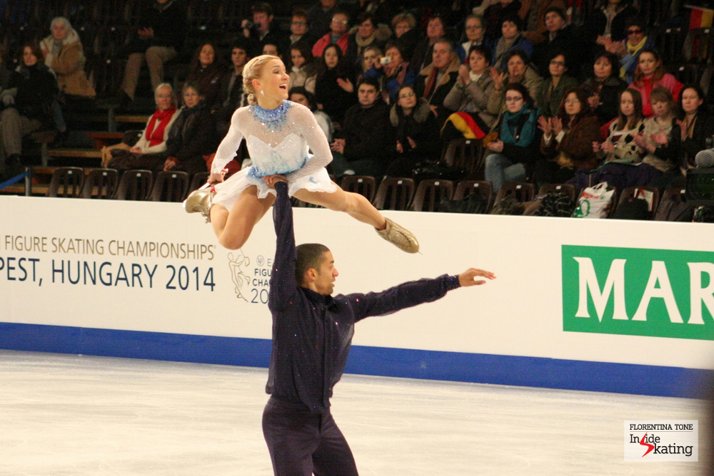 Aliona Savchenko and Robin Szolkowy, during their short program at the 2014 Europeans in Budapest; the Germans withdrew before the free program