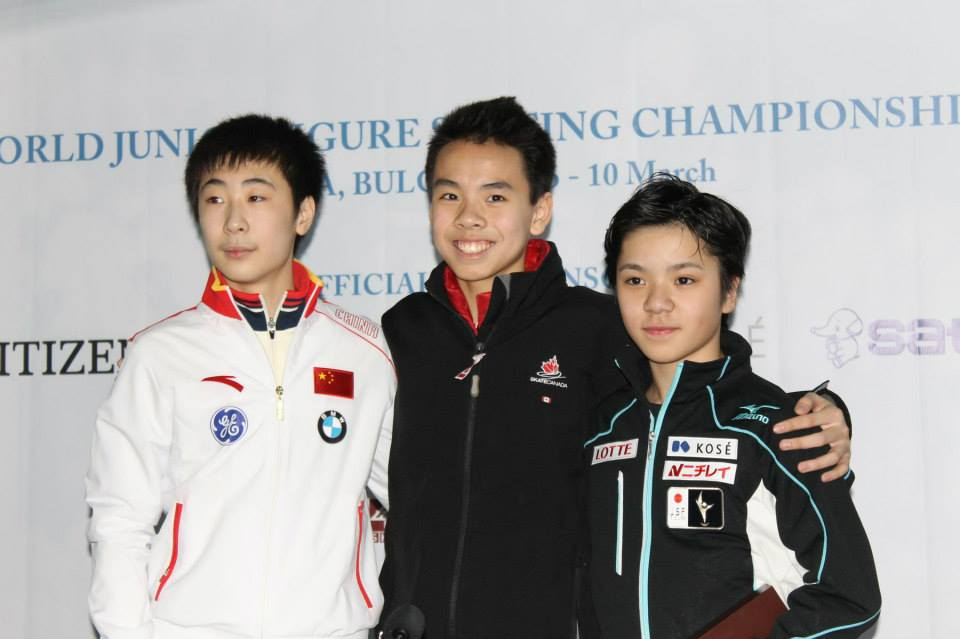 The small medals ceremony after the SP: Nam Nguyen (center), Boyang Jin (left), Shoma Uno (right) (Photo: Andriana Andreeva)