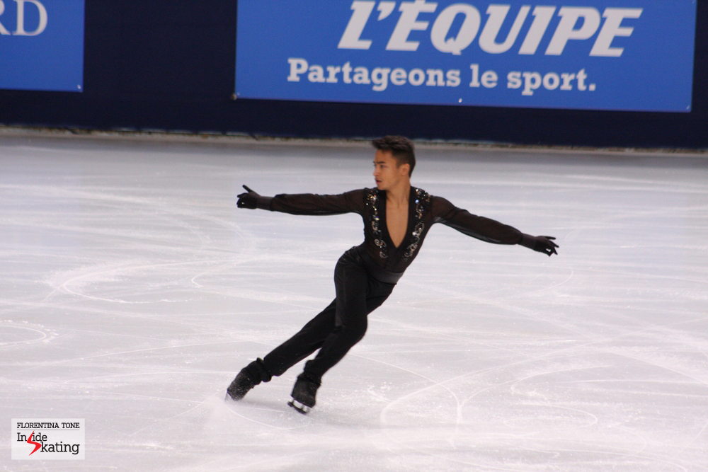 "Florent, in Paris, at the 2013 TEB, performing his short program (""La cumparsita"", choreographed by Stephane Lambiel)"