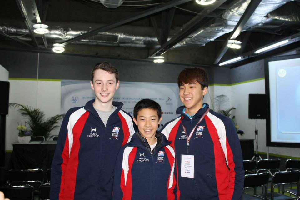 The American boys in Sofia: Jordan Moeller, Nathan Chen and Shotaro Omori
