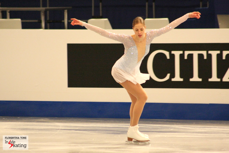 Carolina, as if she were flying (skating on Ave Maria at the 2014 Europeans in Budapest)