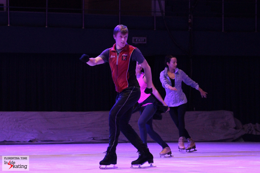 Tomas Verner, Annette Dytrt and Fiona Zaldua, practicing the introductory part of Kings on Ice Olympic Gala