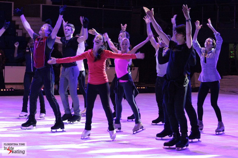 "Cast of ""Kings on Ice Olympic Gala"" practicing the finale. With her wonderful smile, Stefania lights up the room."