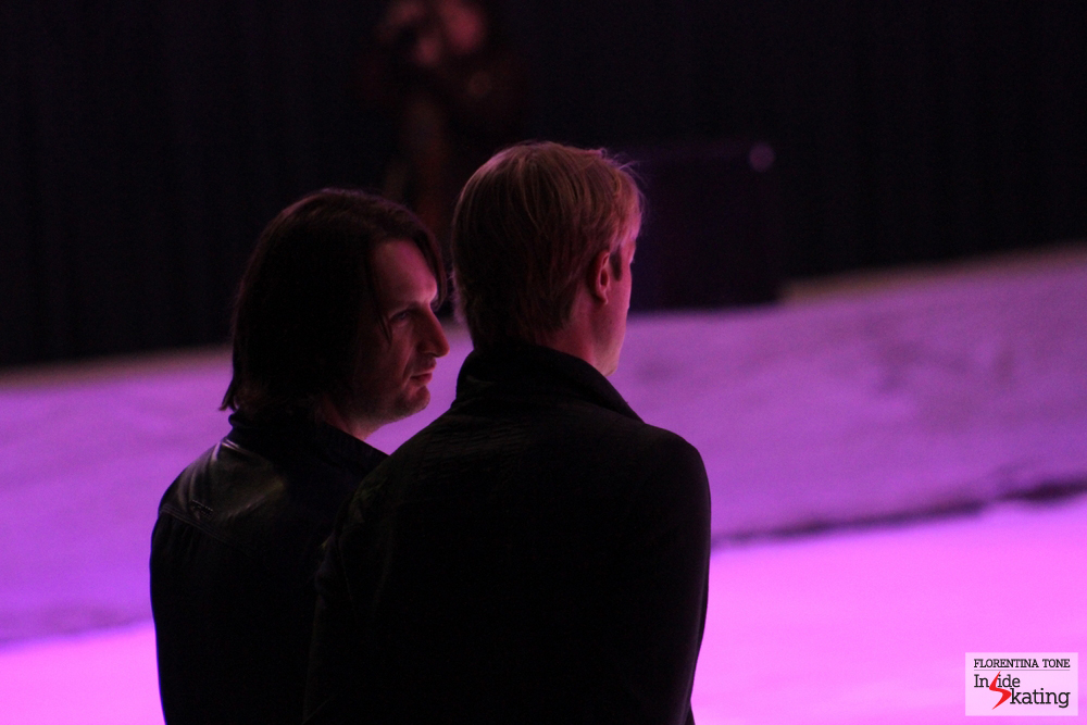 Edvin Marton and Evgeni Plushenko: old friends, having a chat in Bucharest, a few hours prior to the show