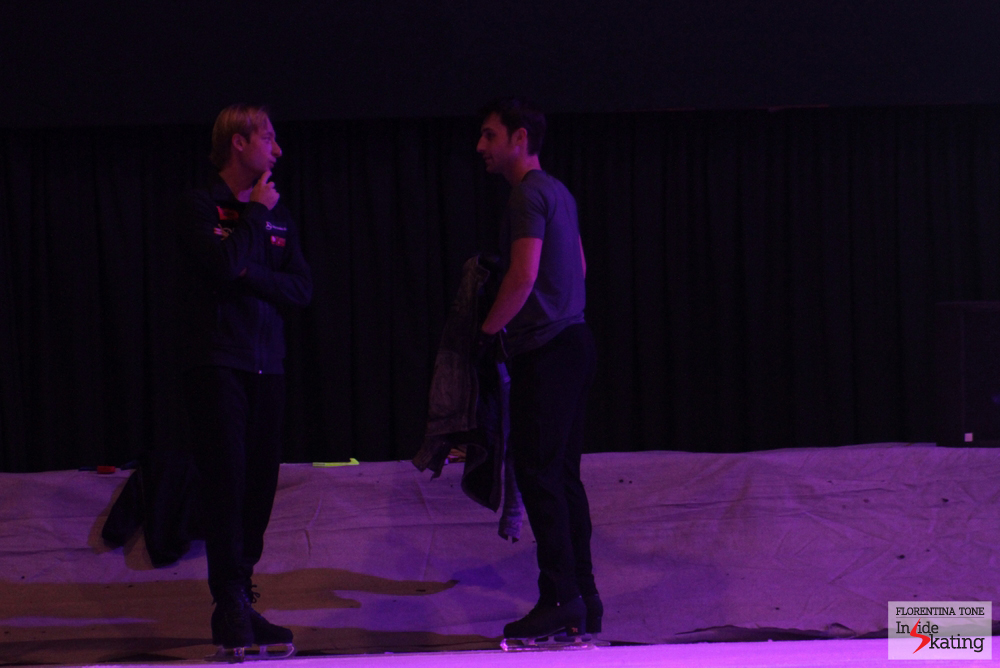 Former competitors, now skating together in galas: Evgeni Plushenko and Brian Joubert