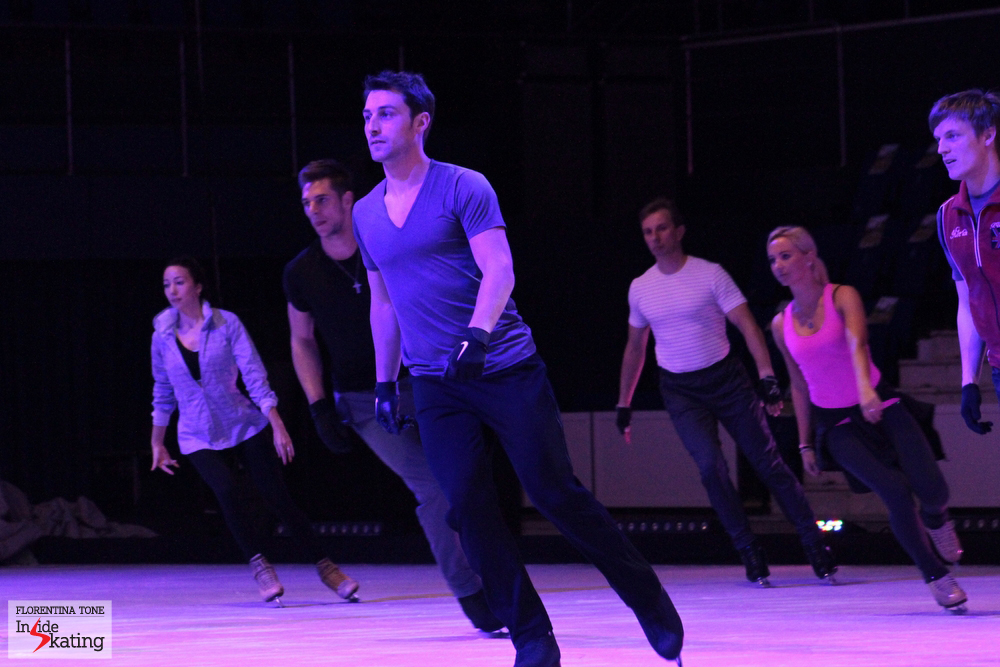 Group rehearsal for the introductory part of the show. Brian Joubert, leading the dance