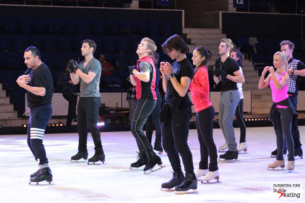 The whole cast of Kings on Ice Olympic Gala, under the guidance of Ari Zakarian, who choreographed both the opening and the finale of the show