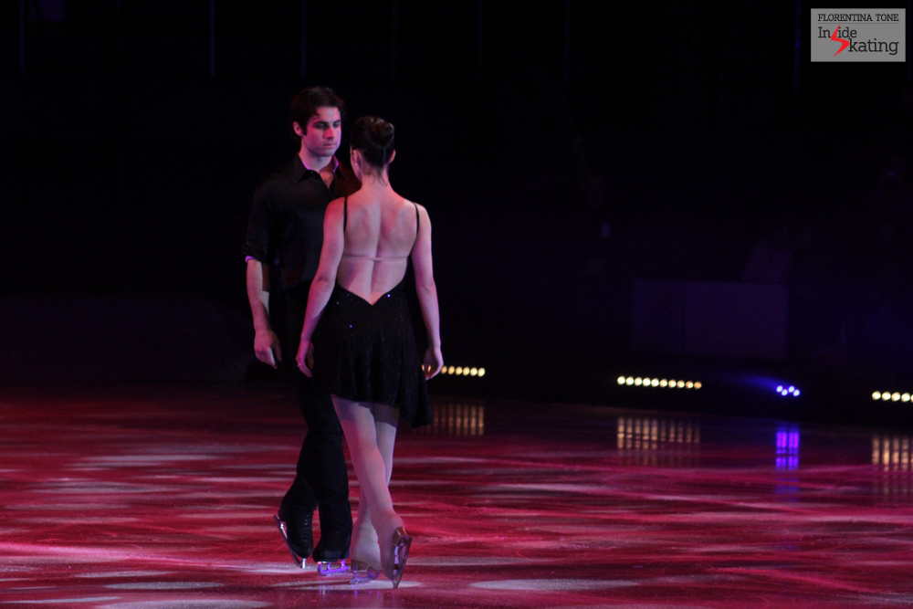 "Stefania and Rockne skating to ""Gravity"" - their first program in the gala and their first performance together in front of an audience"