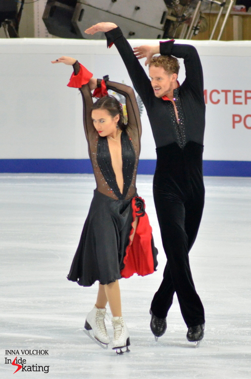 "Madison Chock and Evan Bates' short dance, to ""Don Quixote"", earned them 68.86 points, just below their personal best"