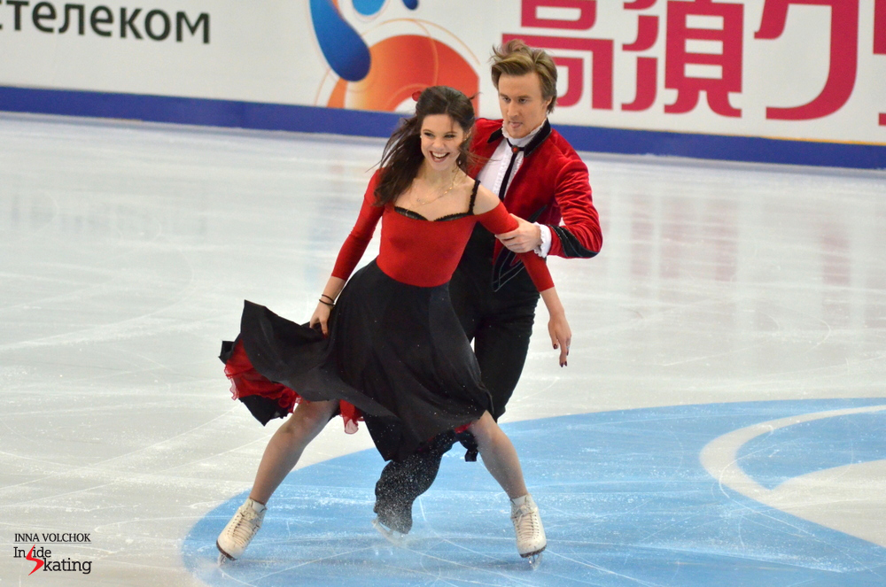 "Performing to ""Carmen"", Elena Ilinykh and Ruslan Zhiganshin set a new personal best, earning 64.12 points for their short dance"