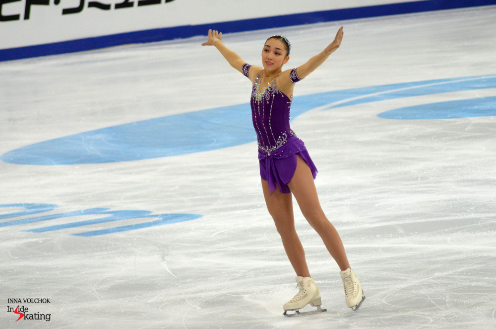 "Skating to ""Le Corsaire"", the Japanese Rika Hongo earned 59.85 points (with this particular score, she was second after the short program)"