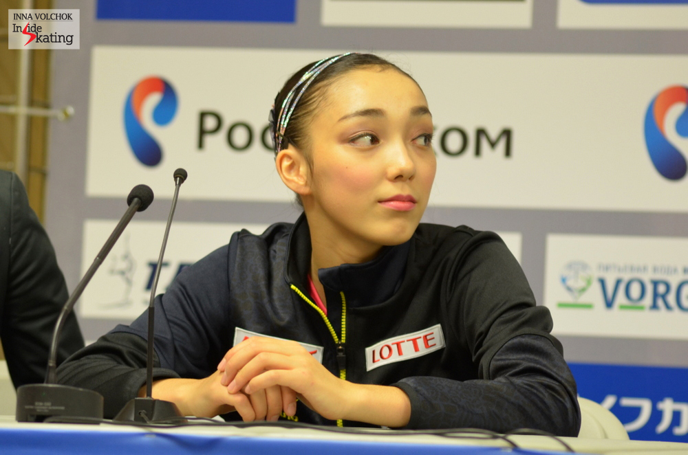 "Rika Hongo at the press conference: ""I think I did everything I could today, so I'm very satisfied with my performance. Today I tried to do better than at Skate Canada and I worked on that with my coach"""