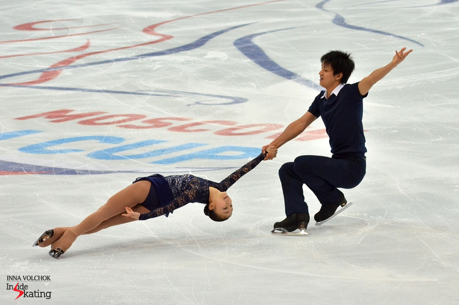 Narumi Takahashi and Ryuichi Kihara during their free dance in Moscow