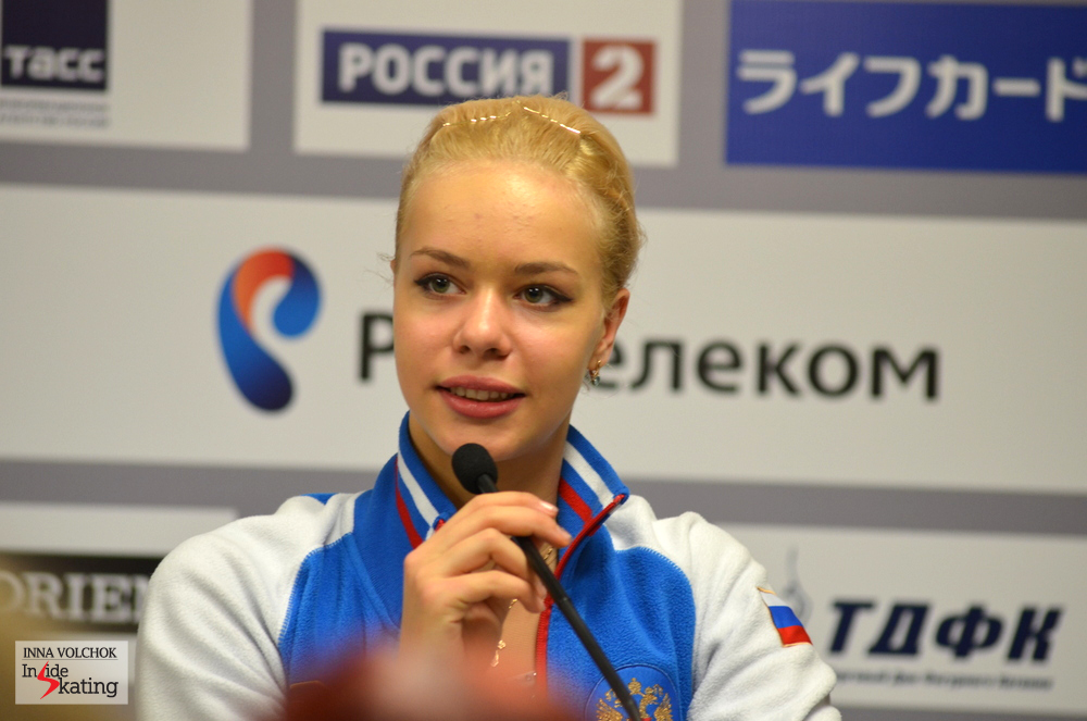 "Anna Pogorilaya at the press conference: ""I am not satisfied at all with my elements today, but it was a big experience for me to skate at home. It felt easy and, in spite of my errors, the audience enjoyed my performance"""