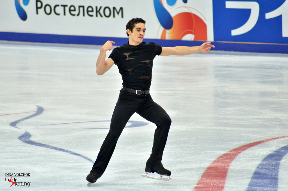 "Javier Fernandez of Spain won the men's short program, skating to ""Black Betty"" and earning 93.92 points, a season's best."