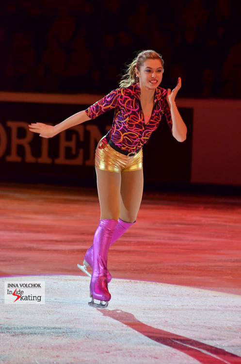 "A happy, smiling Alaine Chartrand in Moscow, skating to ""Funky Town"" by Lipp Sync"