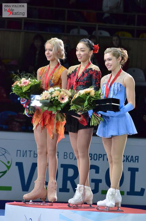 Anna Pogorilaya (silver), Rika Hongo (gold), Alaine Chartrand (bronze)