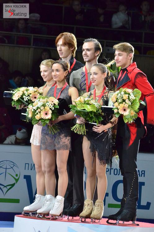 Evgenia Tarasova and Vladimir Morozov (silver), Ksenia Stolbova and Fedor Klimov (gold), Kristina Astakhova and Alexei Rogonov (bronze)