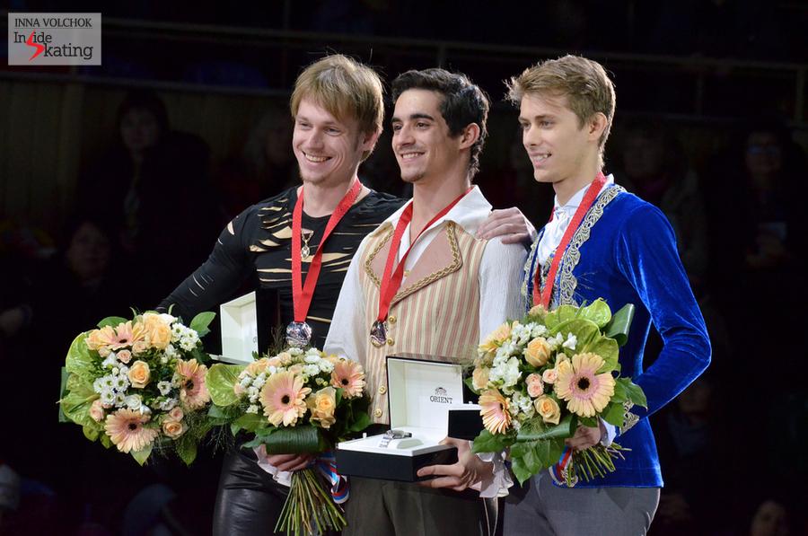 Sergei Voronov (silver), Javier Fernandez (gold), Michal Brezina (bronze)
