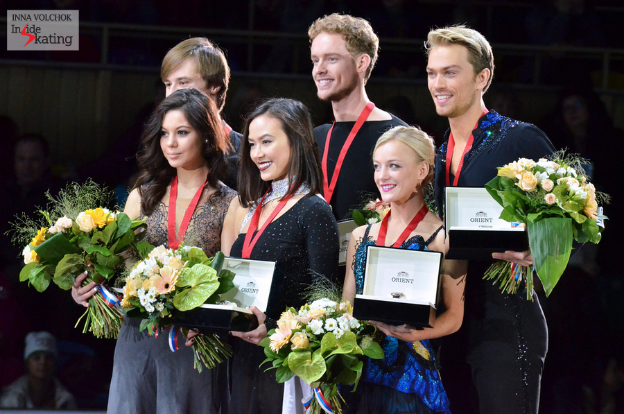 Elena Ilinykh and Ruslan Zhiganshin (silver), Madison Chock and Evan Bates (gold), Penny Coomes and Nicholas Buckland (bronze)