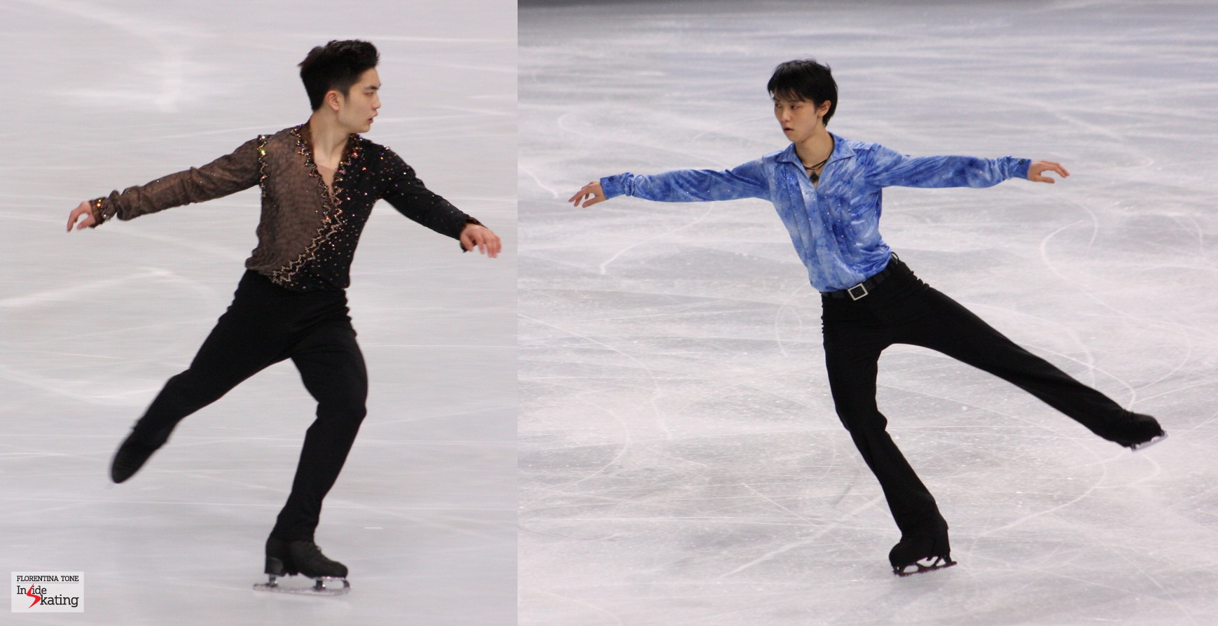 Han Yan and Yuzuru Hanyu (pictures taken last year, at the 2013 Trophee Eric Bompard in Paris)