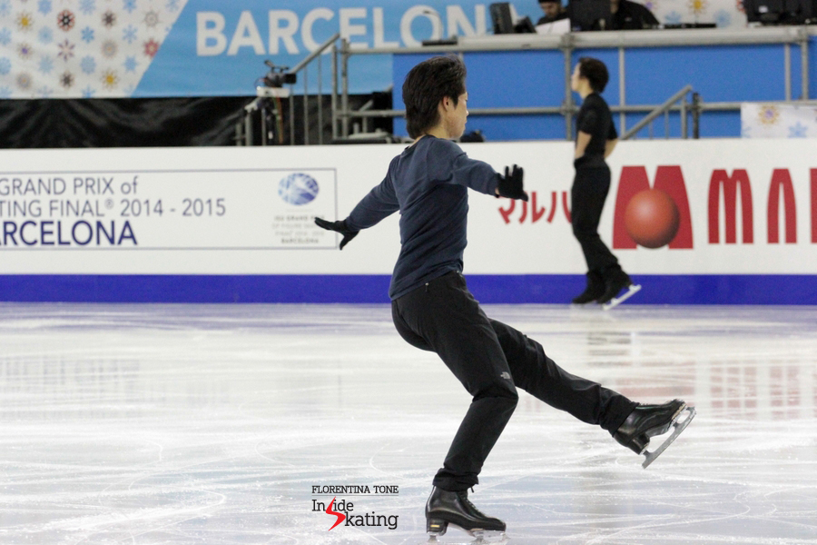 Practice session in Barcelona; in the background, team mate Takahito Mura (Mura was given the 2015 World spot after Tatsuki Machida announced his retirement from competitive skating)